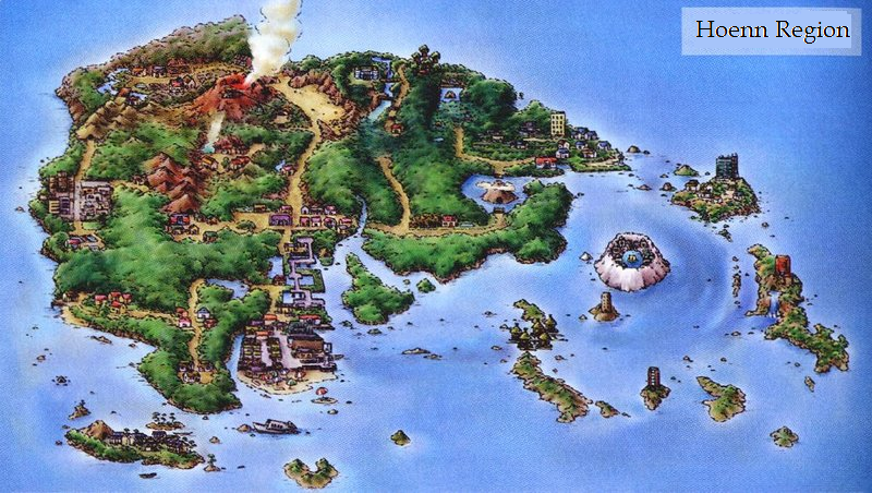 extremely detailed pokemon hoenn map