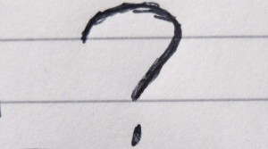 Question-mark on paper